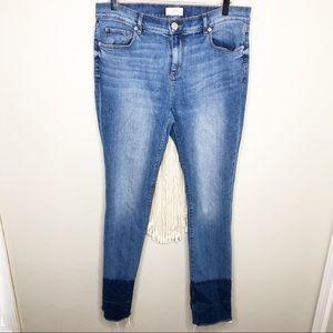 LOFT Outlet Modern Straight Frayed Hem Denim Jeans